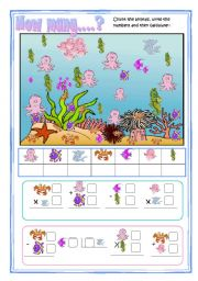 English Worksheet: How many sea animals