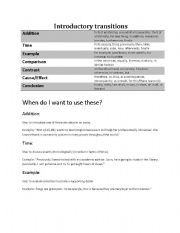 English Worksheets: Introductory transitions worksheet