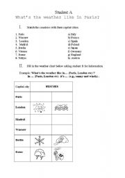 English Worksheet: Weather forecast information exchange + capital cities