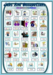 English Worksheets: Jobs/occupations Pictionary
