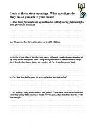 English Worksheets: Openers worksheet
