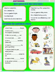 English Worksheets: Afraid of, tired of, good at , bad at, think of,