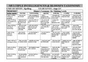 English Worksheets: Spelling Grid