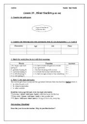 English Worksheets: lesson28:About teachers first year Tunisian pupils