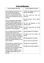English Worksheet: Reading Comprehension in Egypt theme