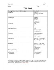 English worksheet: My Thoughts Think Aloud
