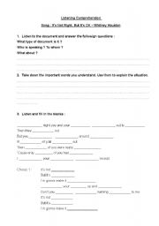 English Worksheets: It�s Not Right But It�s OK - Whitney Houston