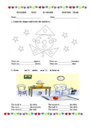 English Worksheet: English test- 2nd grade