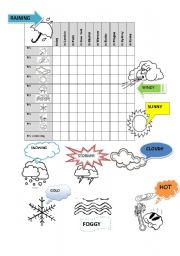English Worksheet: Weather battleship game