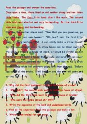 English Worksheets: The Three Little Lambs