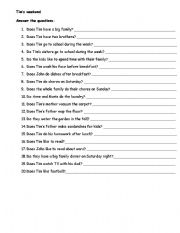 English worksheet: Tim´s weekend - answer the questions