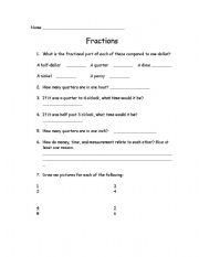English Worksheets: Simple Fractions