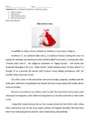 English Worksheets: Baba Marta`s Day in Bulgaria