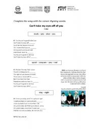 English worksheet: Can´t Take My Eyes Off Of You - CAKE