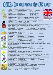 English Worksheet: Quiz Do you know the UK well?