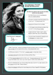 English Worksheets: Drew Barrymore: biography through questions practice