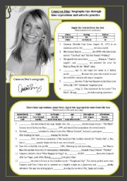 English Worksheet: Cameron Diaz: biography through time expressions and adverbs