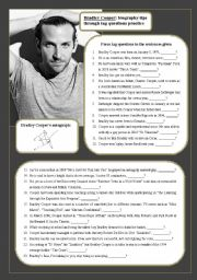 English Worksheets: Bradley Cooper: biography tips through tag questions