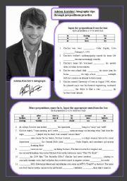 Ashton Kutcher: biogrpahy tips through prepositions practice