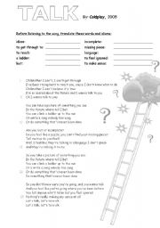 English Worksheet: �Talk� song by Coldplay to introduce topic: Future
