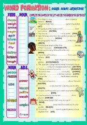 English Worksheets: WORD FORMATION: NOUNS - VERBS - ADJECTIVES (REUPLOADED)