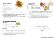 English Worksheet: Cooking Classes - Recipes