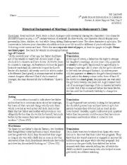 English Worksheet: Historical Background of Marriage Customs in Shakespeare�s Time Creative Writing Handout