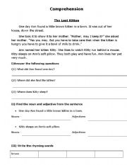 English Worksheets: The lost kitten