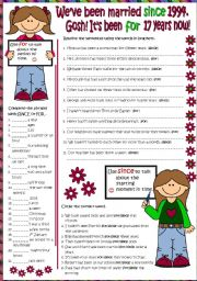 English Worksheet: Present Perfect - SINCE & FOR (B&W + KEY included)