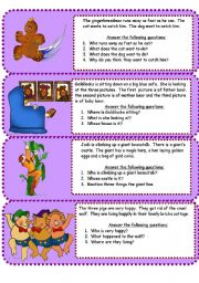 English Worksheet: fairy tales mini comprehensions