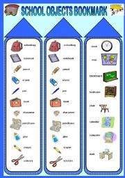 English Worksheet: School objects bookmark