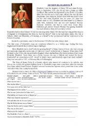 English Worksheets: Elisabeth I