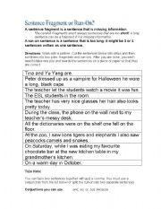 English Worksheets: Sentence Fragment or Run-on