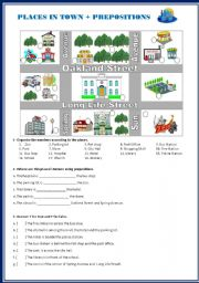 places in town and prepositions worksheet by biancadell. Black Bedroom Furniture Sets. Home Design Ideas