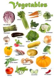 English Worksheet: Vegetables - Poster