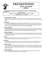 English Worksheet: Frankenstein Projects