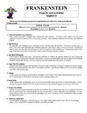 Frankenstein Worksheet - ESL worksheet by Tatum206