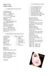 English Worksheet: Selena Gomez - Shake it up