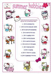 English Worksheet: Hello Kitty hobbies_4 editable pages_match_crossword_answer key and B&W version included