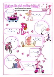 English Worksheets: What are the Pink panther hobbies?