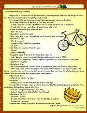 English Worksheets: Billy and the Queen - Reading Comprehension