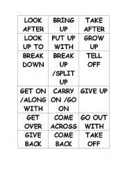 English Worksheet: phrasal verbs game