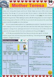 worksheet: Mother Teresa