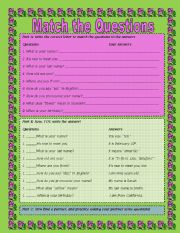 English Worksheets: Match the Questions