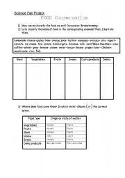 English worksheets: Science Fair Project - Food Conservation