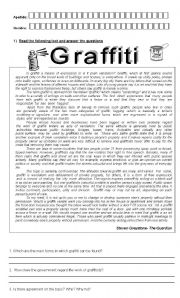 English Worksheet: Graffiti Reading Comprehension