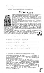 English Worksheet: Favourite singers SHAKIRA