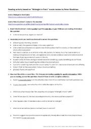 English Worksheet: Reading activity based on movie review of Woody Allen´s Midnight in Paris
