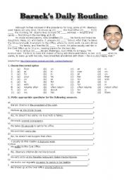 English Worksheets: Barack�s Daily Routine