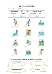 English Worksheets: outdoor activities-Can
